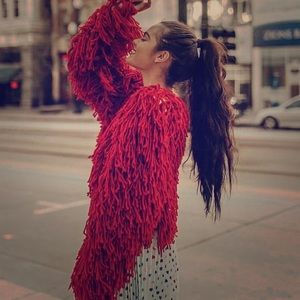 Red NWT Oversized fringe sweater Jacket  M🎈